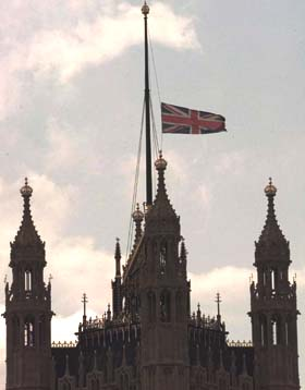 [Westminster Palace flag at Half Staff]